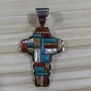 Jay King SS large gemstone studded cross pendant